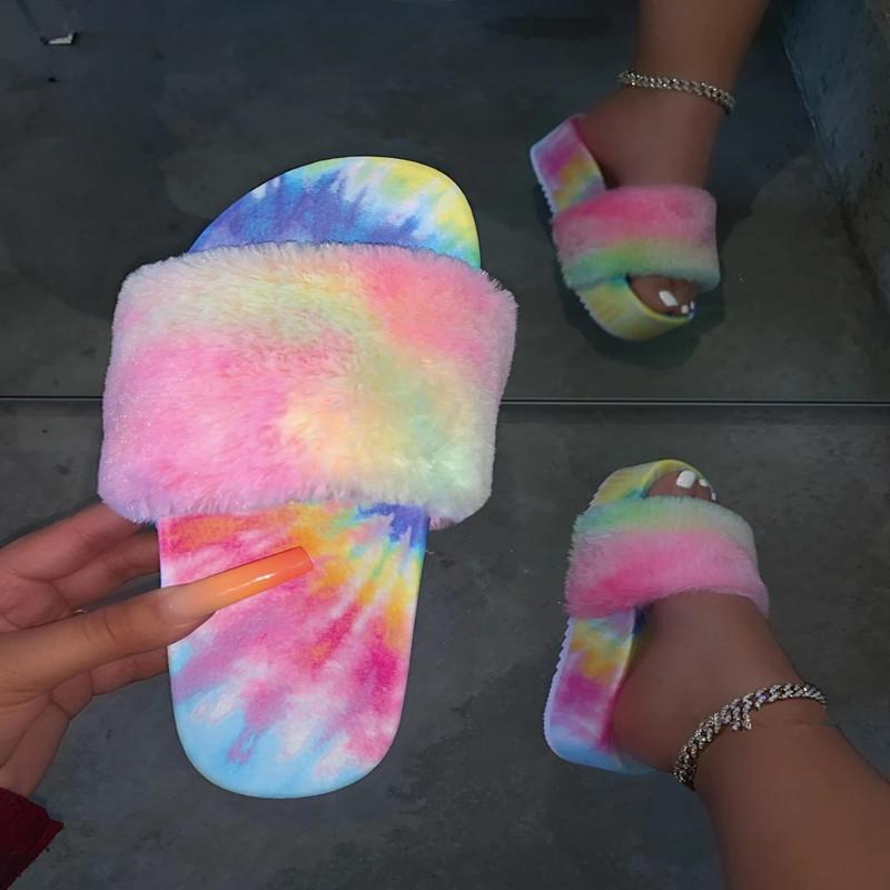 Image of Fashion Fur Slides For Women Furry Sandals For Woman Female Indoor Shoes Fluffy Plush With Fur Slippers Flip Flops
