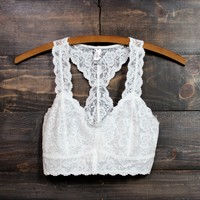racer back all over scalloped lace bralette in white