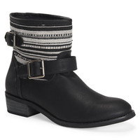 Aeropostale  Womens Fabric Stripe Buckle Boots - Black, 6