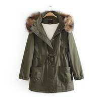 2017 winter women's new long section of the military green coat [186323337242]
