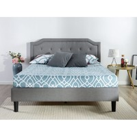 Full size Grey Upholstered Platform Bed with Classic Button Tufted Headboard