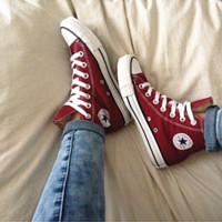 Converse All Star Sneakers Adult Leisure  High-Top Leisure shoes Wine red