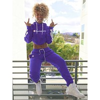 Copy of Champion Popular Women Leisure Print Long Sleeve Pants Set Two-Piece Sportswear Purple