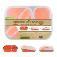 Smart Planet EC-34 Large (48 oz)  3-Compartment Eco Silicone Collapsible Lunch Box, Orange