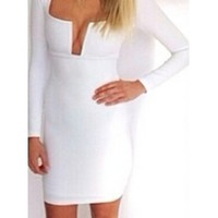 White Long Sleeve Cut Out V Neck Zip Back Bodycon Tight Fitted Mini Dress