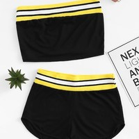 Contrast Stripe Trim Bandeau Top With Dolphin Shorts