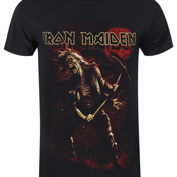 Iron Maiden Benjamin Breeg Red Graphic Men's Black T-Shirt
