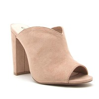 Casual Love Mule Slip On Heels In Warm Taupe