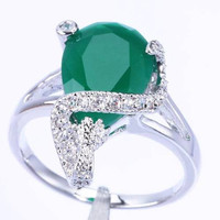 Silver Plated Green Emerald Swirl Wrap Ring