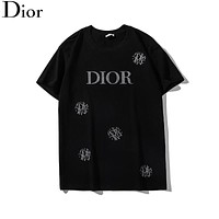 Dior New Trending Women Men Stylish Diamond Letter Round Collar T-Shirt Top Black