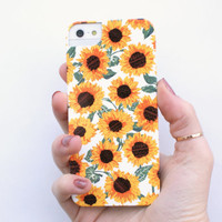 illustrated phone case, iphone 5, 5S. hard case, floral sunflower pattern print, aztec yellow