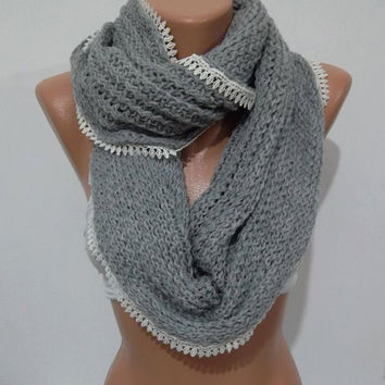 ON SALE Elegant and soft  Infinity Scarf  Circle Scarf   Knit Fall Scarf  Light gray...Christmas gift idea