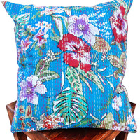 Turquoise Flower print kantha cushion cover , indian cushion, cotton cushion ,handmade cushion ,kantha pillow