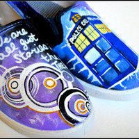Doctor Who Shoes, Custom Doctor Who Shoes, Painted Shoes - Dr Who, Tardis, Painted Shoes, Dr Who, Gallifrey Writing, Painted DrWho Shoes