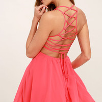 Good Deeds Coral Pink Lace-Up Dress