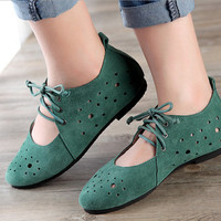 Green/White Handmade Leather Flat Shoes Women,Round Toe vintage Shoes, Soft leather Shoes,Oxfords&Tie Shoes, Hollow hole shoes,Strappy shoes