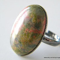 Unakite Ring Natural Stone 18x25mm Gunmetal Plated Adjustable Ring