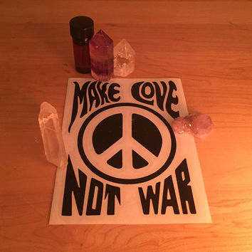 Make Love Not War Sticker - hippie sticker, yin yang sticker, peace sticker, grateful dead sticker
