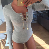 Winter V-neck Long Sleeve Romper [9516222084]