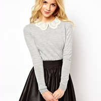 ASOS Embroidered Lace Collar Jumper at asos.com