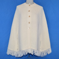 80s White Womens Knit Cape Shawl Sweater One Size