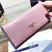 Prada Fashion New  Leather Women Wallet Purse Clutch Bag Pink
