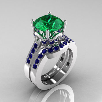 Classic 14K White Gold 3.0 Carat Emerald Blue Sapphire Solitaire Wedding Ring Set R301S-14KWGBSEM