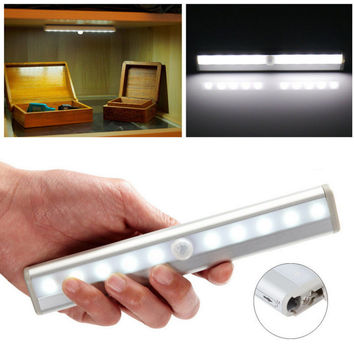 New TDL-7120 10 LED IR Infrared Motion Detector Wireless Sensor Lighting Closet Night Battery Lamp Cabinet Wardrobe Light