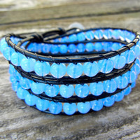 Beaded Leather Wrap Bracelet 3 Wrap with Periwinkle Blue Czech Glass Beads on Black Leather