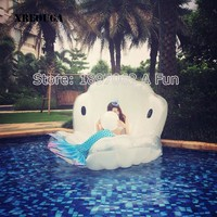 Adults Giant Pool Float Pearl Scallops Inflatable Shell Floating Mattress Lounger With Handle and Decoration Pearl Ball PF013