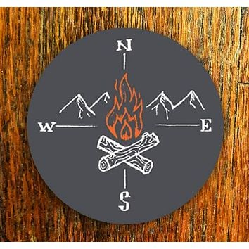Fire Compass - All weather vinyl sticker