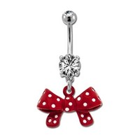 Red Polka Dot Bow Belly Button Ring