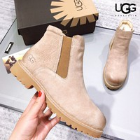 UGG New fashion leather women keep warm shoes boots Khaki