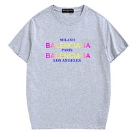 Balenciaga Summer Fashion New Letter Print Women Men Top T-Shirt Gray