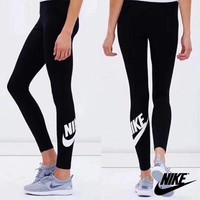 """Nike"" Women Casual Simple Letter Multicolor Stripe Long Sleeve Trousers Set Sportswear"