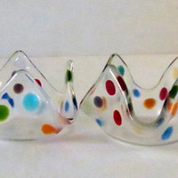 Home Decor, Tealight Holders, Multi-color on Clear Glass, Handmade, Statteam
