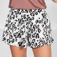 Leopard Ivory Swing Shorts