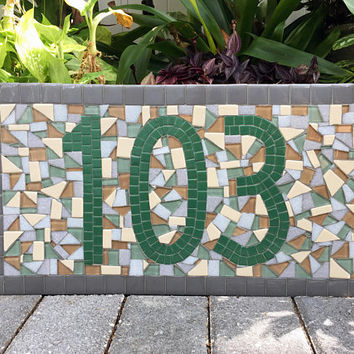 Green and Gray Mosaic Address Sign, House Number Plaque, Address Marker