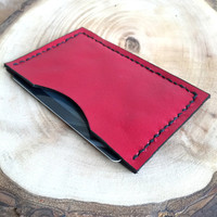 Red Leather Card Case,Leather Card Holder,Minimalist Card Case,Boho Wallet,Small Wallet,Leather Wallet,Leather Case,Money Clip,Leather Pouch