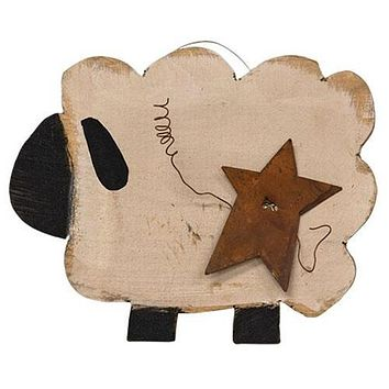 Chubby Wooden Sheep with Rusty Star
