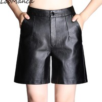 2018 New Autumn Winter High Waist Loose  PU Leather Shorts Women Ladies Black Shorts Fashion Women Casual Shorts Plus Size