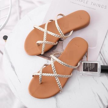 New summer women's large size flat-bottomed cross-flip woven sandals and slippers shoes
