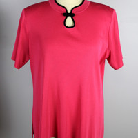 Exclusively Misook Knit Top Pink Oriental Style Button Neck