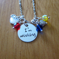 """Disney's """"Snow White"""" Inspired Necklace. I'm Wishing. Snow White And The Seven Dwarfs. Silver colored, Swarovski crystals. Hand stamped."""