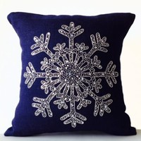 Amore Beaute Handmade Snow Flake Pillow Covers - Christmas Pillow Case - Small Pillow Cover - Cute Pillow - Snowflake - Navy Blue Pillow Covers - Burlap Pillow Covers - Throw Pillow Case - Christmas Cushion Covers - Silver Sequin Snow Pillow Covers - Chris