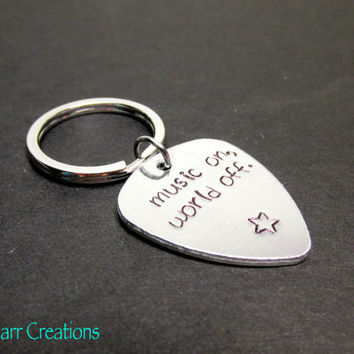 Music Keychain, Music On, World Off, Star Stamp, Musician Gift, Hand Stamped Aluminum Key Chain