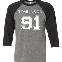 Adult One Direction Louis Tomlinson 91 Baseball T-Shirt