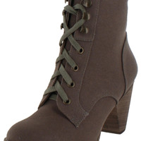 Chelsea Crew Tao Women's Canvas Lace Up Chunky Ankle Booties Boots