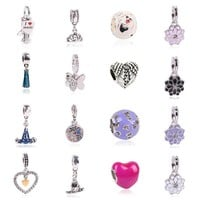 Charm Bracelets Beads For Silver plated Delicate Angel Wings Heart fit