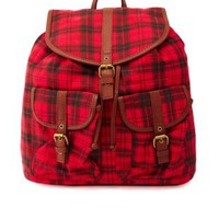Multi Plaid Canvas Backpack by Charlotte Russe